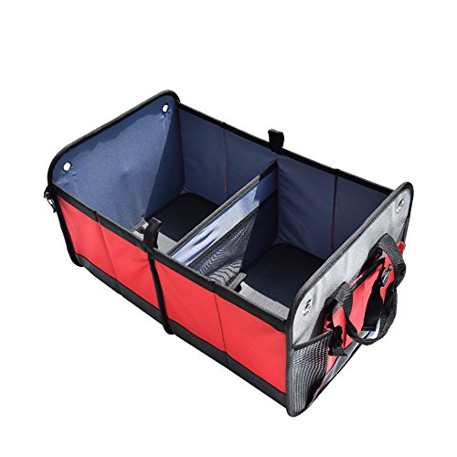 MANDCG HX431 Car storage box/Car Boot Bag(Oxford Cloth Foldable )Car Boot Organizer heavy for For Car, SUV, Minivan, Truck & Indoor Uses groceries -Black and red by MANDCG