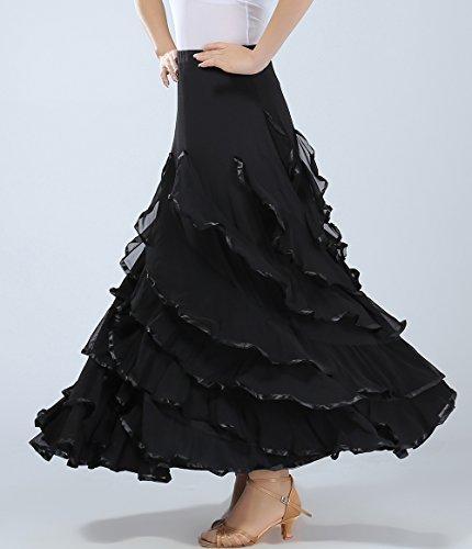 Heureux Danse Flamenco Folklorico Pratique Danseurs Costumes Jupes Vêtements Noir Rouge