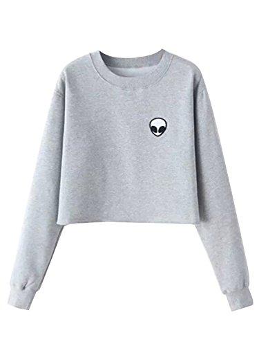 Clothink Women Black/Gray Long Sleeve Cropped Jumper Sweatshirt with Alien Print