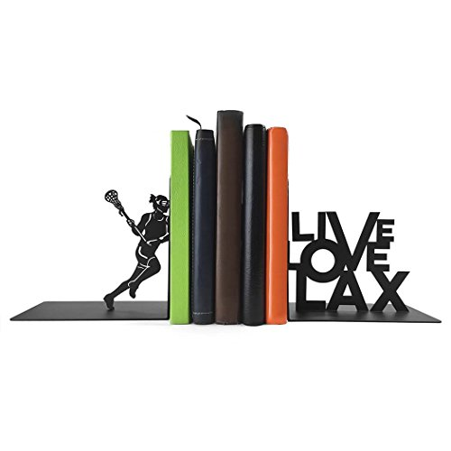 ChalkTalkSPORTS Lacrosse Metal Bookends | Decorative | Nonskid | Live Love Lax | Great Room Décor for Kids Room