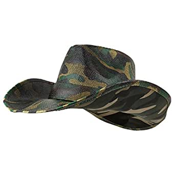 d09ac907150 Armycrew Woodland Camouflage Print Western Paper Straw Cowboy Hat ...