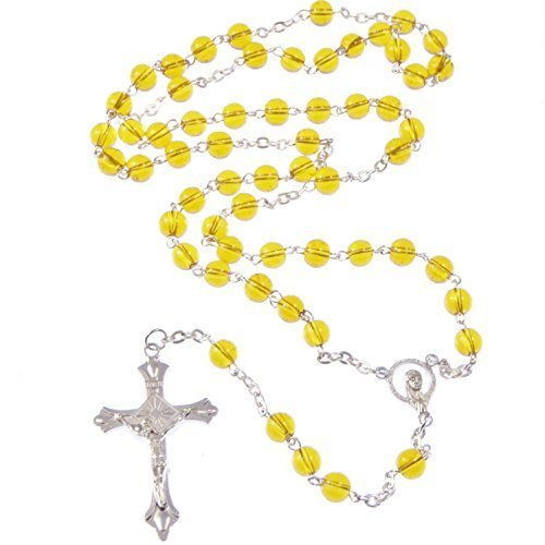 R. Heaven Amber colour yellow Catholic glass rosary beads Our Lady center by R. Heaven