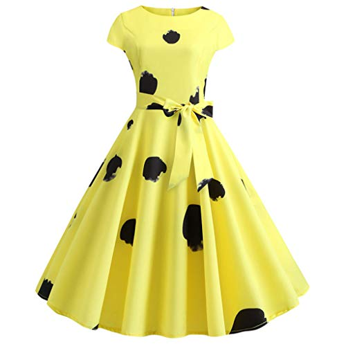 Rakkiss Women Vintage Skirt Print Belt Retro Hepburn Skirt A-Line Elegant Exquisite Skirt O-Neck Prom Swing 1950s Dress