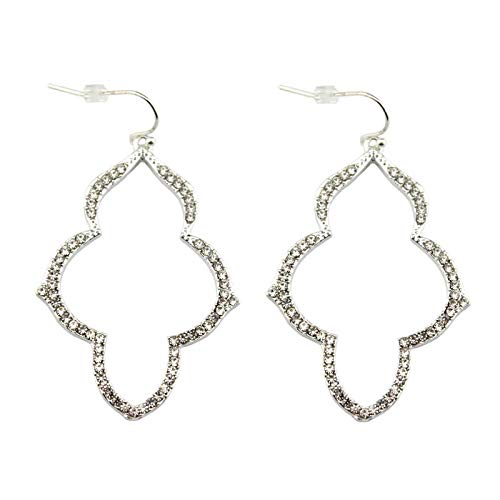 Brand Stella Gold Arabesque Earrings for Women Pave Crystal Chandeliers Jewelry