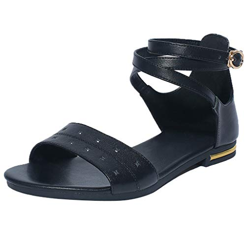 Summer Flat Sandals for Women, Huazi2 Open Toe Ankle Strap Buckle Beach Shoes Black