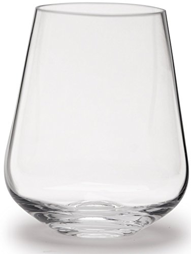 Circleware Symphony Stemless Wine Glasses, Set of 4, 17 oz, Clear, Lead-Free Glass Drinking Cups for Bar, Water, Juice, Whiskey and Beverage Drinks