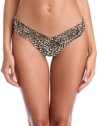 RELLECIGA Women's Leopard Shell Design Strappy Black Thong Bikini Bottom Size Small