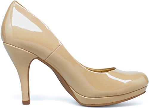 (MARCOREPUBLIC Rome Memory Foam Cushion Womens Low Platform Heels Comfort Pumps - (Dark Beige Patent) - 7)