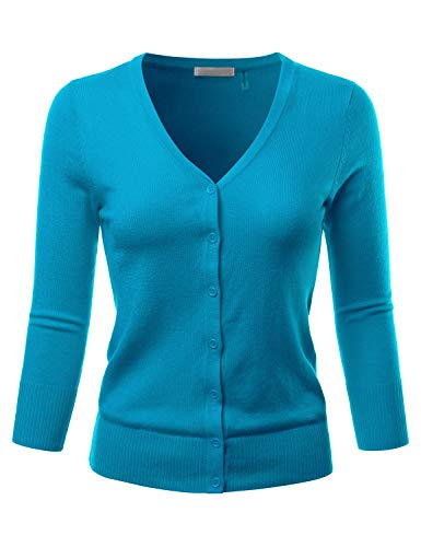 EIMIN Women's 3/4 Sleeve V-Neck Button Down Stretch Knit Cardigan Sweater Turquoise 1XL