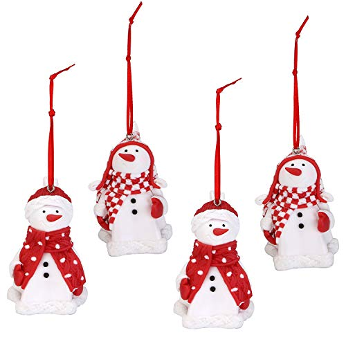 Sea Team Assorted Clay Figurine Ornaments Traditional Snowman Doll Hanging Charms Christmas Tree Ornament Holiday Decorations, Set of 4 (Red & White)