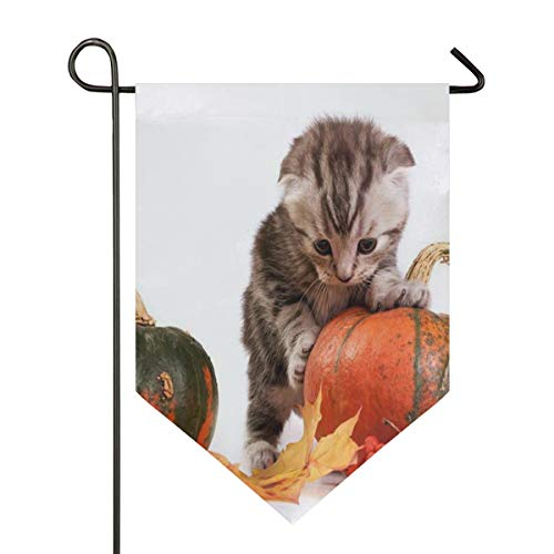 Halloween Cat Wallpaper Garden Flag Banner Long Polyester Decorative Flag for Wedding Anniversary Home Outdoor Garden Decor Season Porch Lawn Double Sided 12 x 18.5 inches -