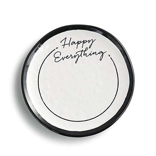Happy Everything Black and White 6 x 6 Melamine Decorative Dessert Plate (Decorative White Black Plates)