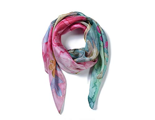 (Invisible World Women's 100% Silk Hand Painted Square Scarf Spring)