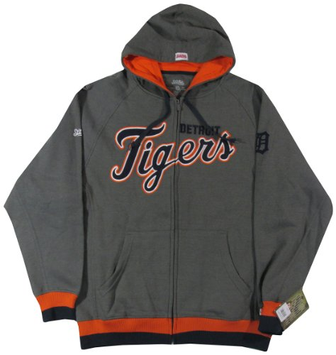 MLB Detroit Tigers Adult Full Zip Hooded Jacket, Charcoal, X-Large - Detroit Tigers Hooded Pullover Jacket
