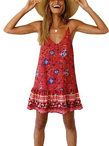 (MISSLOOK Women's Floral Spaghetti Strap Short Dress Boho V Neck Beachwear Vintage Ruffle Mini Dress Sundress - Red XL)