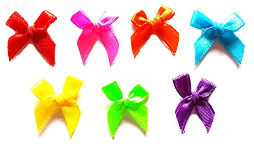 (120 Pcs - Cute Satin Bow Ribbon Applique Embellishment Decoration - Size 20mm X 25 Mm)