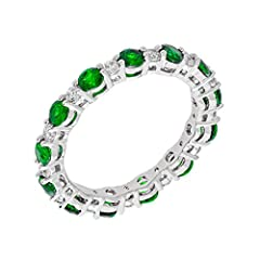 Item Type: Ring         Metal Type: Brass         Metal Color: White         Metal Plating: 18k White Gold         Stone Type: Cubic Zirconia         Stone Color: Green         Stone Shape: Round         Stone Count: 13       ...