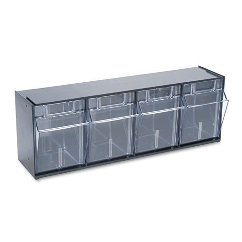 (Deflect-O Tilt Bin Plastic Storage System with 4 Bins, 8 1/8