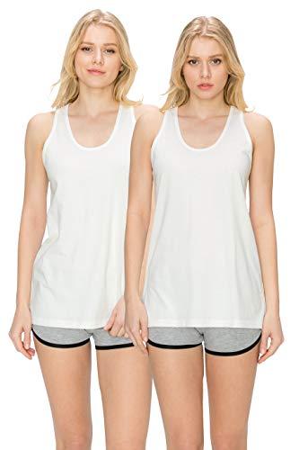 EttelLut Loose Fit White Tank Tops for Women Plus Size Pack White/White XXL