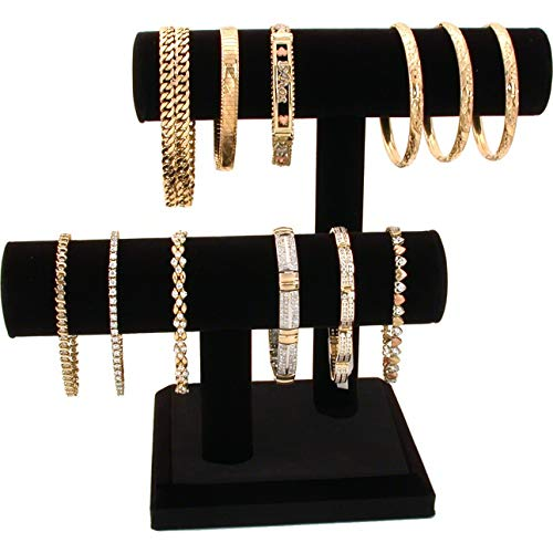 2 Tier Black Velvet T-Bar Bracelet Watch Jewelry Stand Display (Black)