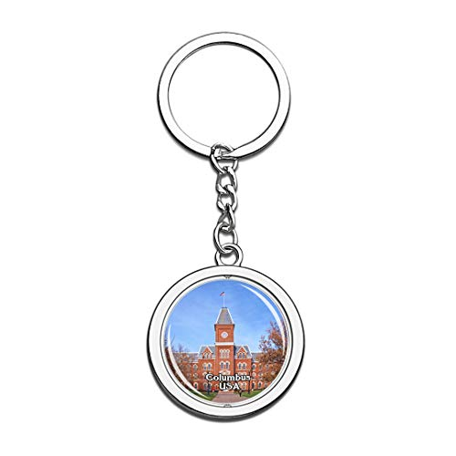 USA United States Keychain Ohio State University Columbus Key Chain 3D Crystal Spinning Round Stainless Steel Keychains Travel City Souvenirs Key Chain Ring -