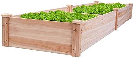 Wooden Raised Garden Bed Elevated Grow Vegetable Flower Planter Cedar Wood