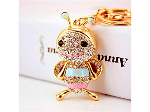 Car Keychain, Exquisite Cute Little Bee Keychain Animal Key Trinket Car Bag Key Holder Decorations(Colorful) for Gift by Huasen