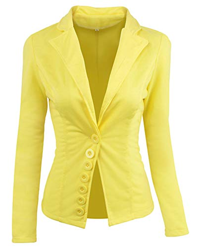 Lapel Abrigo Chaqueta Botón Blazers Mujer OL Coat Slim Amarillo Traje Casual Top F8xYw1