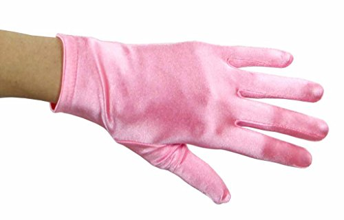 - Beautiful Wrist Length Short Satin Gloves in 34 Colors Assorted Glove Colors: Bubblegum Pink