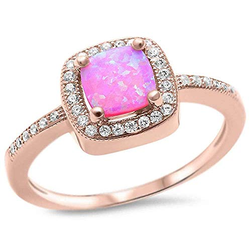 CloseoutWarehouse Simulated Pink Opal Cubic Zirconia Simple Ring Rose Gold-Tone Plated Sterling Silver Size 7