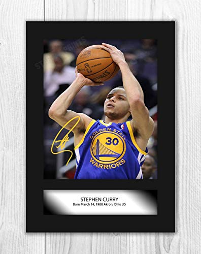 Engravia Digital Stephen Curry (3) NBA Golden Sate Warriors Reproduction Autograph Poster Photo A4 Print(Unframed)