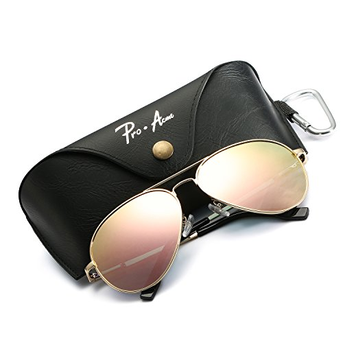 Pro Acme Oversized Aviator Sunglasses for Men Women Polarized Mirrored Lens - UV 400 with Case (Gold/Pink Mirror) ()