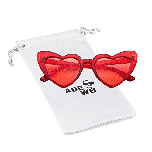 Red frame ADEWU de Lunettes 1 Soleil de lens red Forme en Coeur A Fr8zFqw
