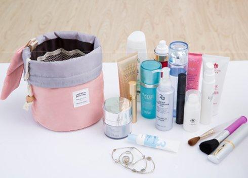 Mermaid Barrel Shaped Travel Cosmetic Bag Nylon High Capacity Drawstring Elegant Drum Wash Bags Makeup Organizer Storage Bag - Mermaid Drum