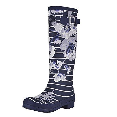 Joules Tall Welly Print French Navy Posy Stripe - Womens Rain Boots Size 6