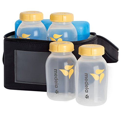 Medela Breast Milk Cooler and Transport Set, 5 ounce Bottles with Lids, Contoured Ice Pack, Cooler Carrier Bag ()