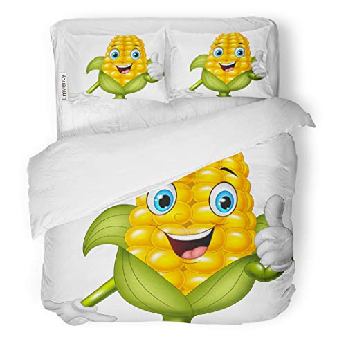 Semtomn Decor Duvet Cover Set King Size Character Cartoon Corn Giving Thumbs Up Comic Adorable Agriculture 3 Piece Brushed Microfiber Fabric Print Bedding Set Cover