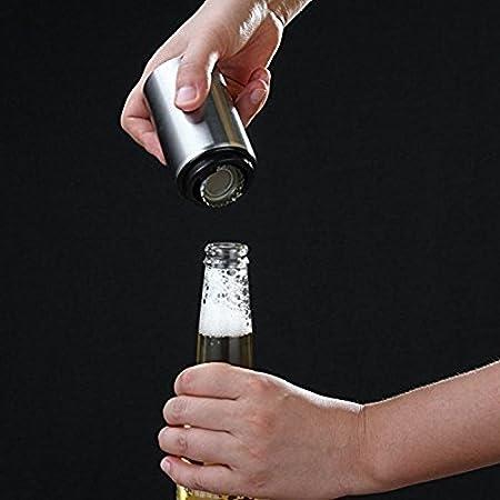 ZZM Abrebotellas de Cerveza - Imán-Automático, Abrebotellas de Acero Inoxidable, empujador de Botella