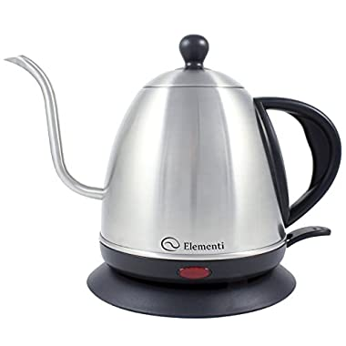 Electric Kettle (1.0L) for Pour Over Coffee and Tea - Elementi Stainless Steel Gooseneck Drip Kettle Teapot