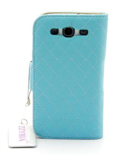 ZZYBIA® S3 QCB Leatherette Case Card Holder Wallet With White Bear Fringed Dust Plug Charm and Screen Cleaning Pad for Samsung Galaxy S3 III I9300 I9305 (Light Blue)