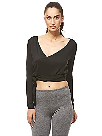 South Beach Tie Side Detail Top for Women - BLACK 14 UK