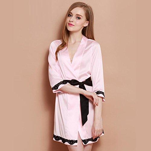 GL&G Camisón de alta calidad Pijamas de seda de las mujeres albornoces Manga cordón de encaje estiramiento, baño, pijamas ocasionales, transpirables,Pink,L