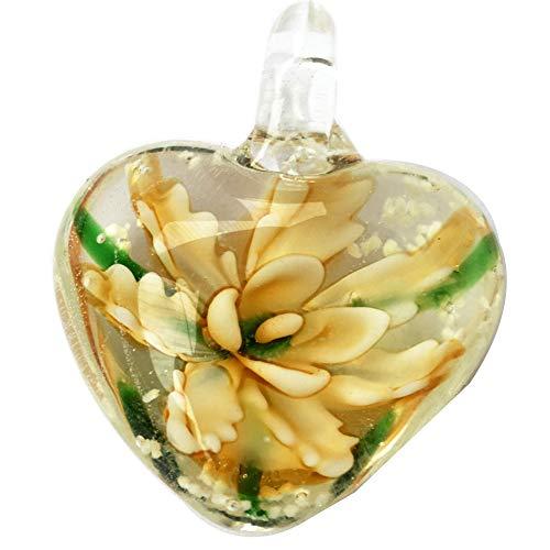 Jewelry58718 Fashion Lampwork Glass Heart Flower Pendant Bead (Yellow C7367)