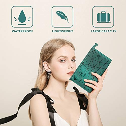 PU Leather Makeup Pouch Bag for Women Girls Men, Geometric Print, Water-resistant Portable Cosmetic Bag Toiletry Bag Travel Organizer, Lightweight, Large Capacity, Zipper(Large)