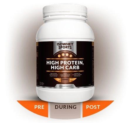 ISOWhey sport riche en protéines, riche en glucides formule (vanille) 1,2 kg
