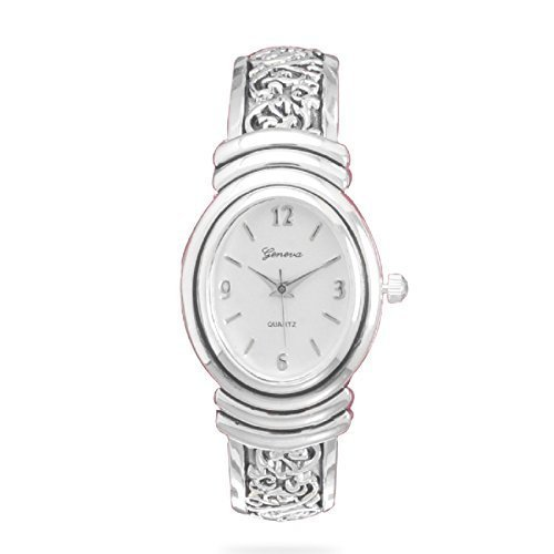 Geneva Womens Oxidized Scroll Design Hinged Fashion Cuff Watch White Dial W9132 (Cuff Fashion Watch Ornate)