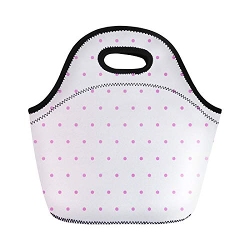 Semtomn Lunch Tote Bag Pink Abstract Polka Dot Random Dotted Collection Patterns Polkadots Reusable Neoprene Insulated Thermal Outdoor Picnic Lunchbox for Men Women (Dotted Knit Dress)