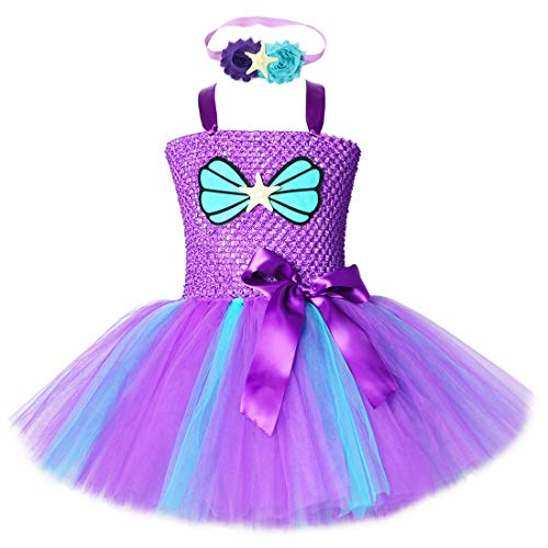 Little Mermaid Tutu Dress for Girls Halloween Birthday Party Princess Costume Outfit Tulle Kids Dresses (Purple,X-Large(7-8years)) -