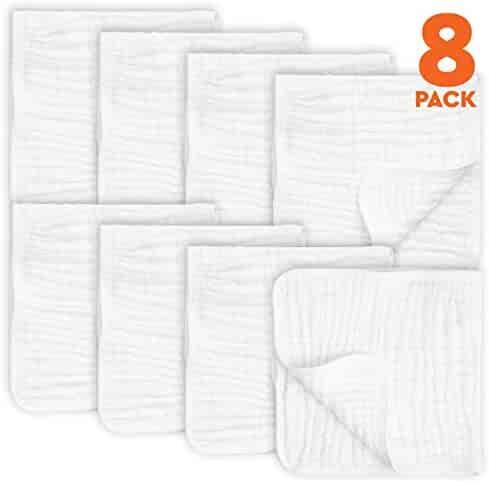 8 Pack Muslin Burp Cloths Large 20