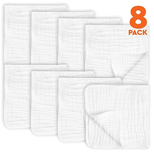 8 Pack Muslin Burp Cloths Large 20″ by 10″ 100% Cotton, Hand Wash Cloth 6 Layers Extra Absorbent and Soft